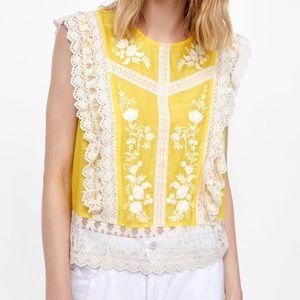 Zara Woman Lemon Yellow Top, S, Lace, Embroidery